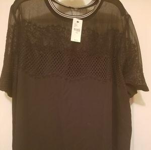 Lane bryant black lace sheer top